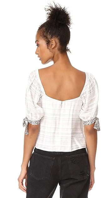 Rebecca Taylor Off Shoulder Yarn Dye Stripe Top