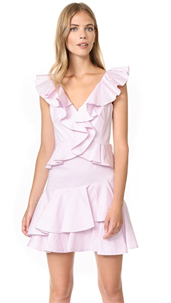 Rebecca Taylor Sleeveless Ruffle Dress In Iris Haze