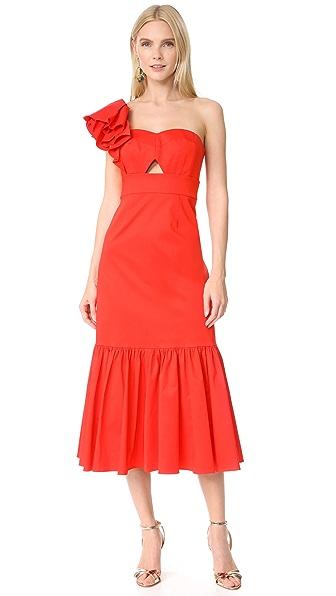 Rebecca Taylor One Shoulder Ruffle Dress