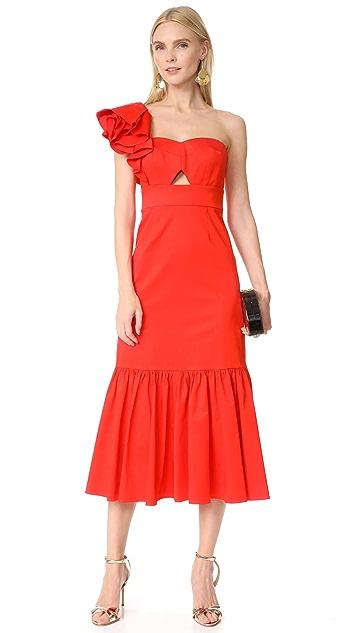 Rebecca Taylor Платье с открытым плечом и оборками