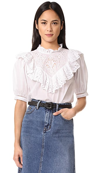 Rebecca Taylor Short Sleeve Nouveau Eyelet Top - Milk