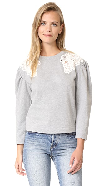 Rebecca Taylor Lace Sweatshirt In Grey/Off White