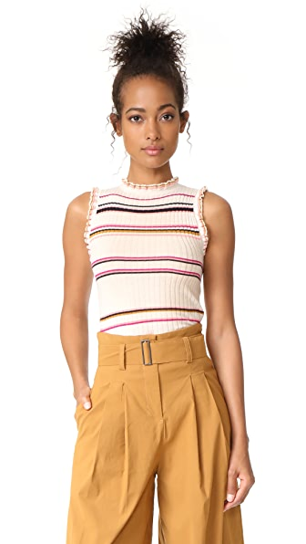 Rebecca Taylor Sleeveless Striped Rib Tank - Cream