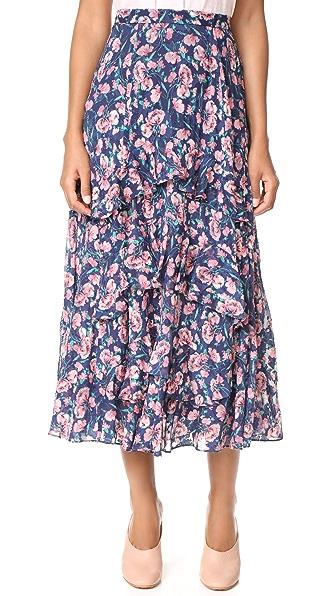 Rebecca Taylor Tea Rose Ruffle Skirt - Royal Combo