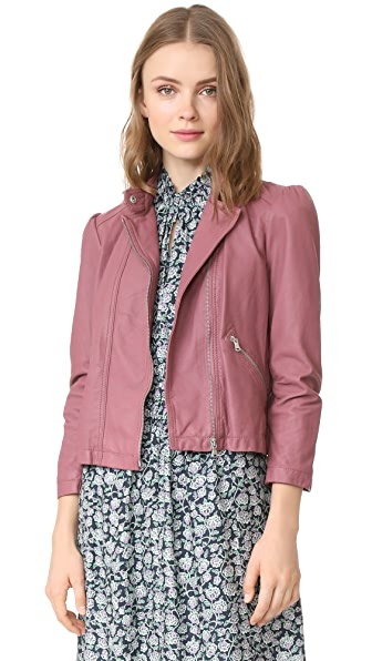 Rebecca Taylor Washed Leather Moto Jacket - Blusher