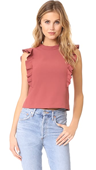 Rebecca Taylor Ruffle Suit Top In Lipstick