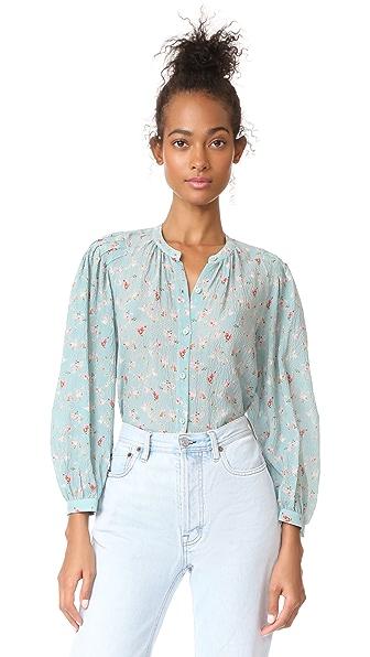 Rebecca Taylor Serra Floral Top In Mint Combo