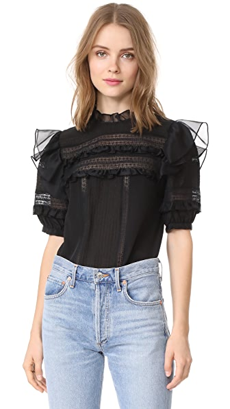 Rebecca Taylor Short Sleeve Silk & Lace Top In Black