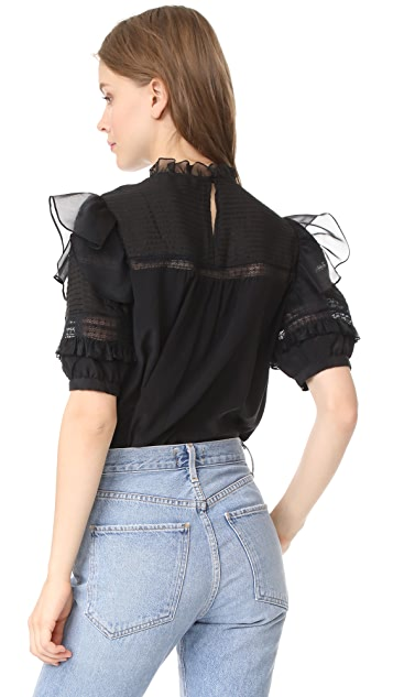 Rebecca Taylor Short Sleeve Silk & Lace Top