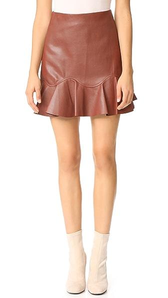 Rebecca Taylor Pecan Brown Vegan Leather Skirt