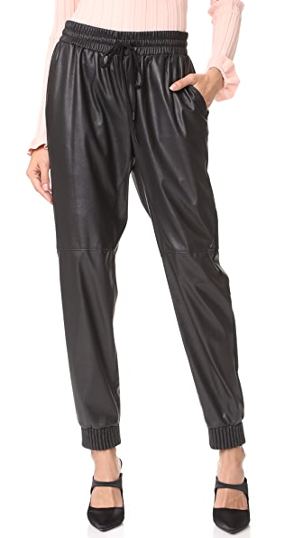 Rebecca Taylor Faux Leather Track Pants In Black