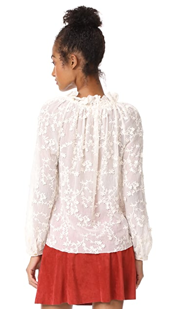 Rebecca Taylor Long Sleeve Ellie Embroidered Top