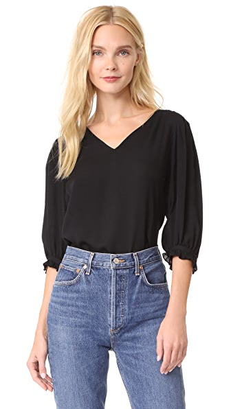 Rebecca Taylor Long Sleeve V Neck Top In Black
