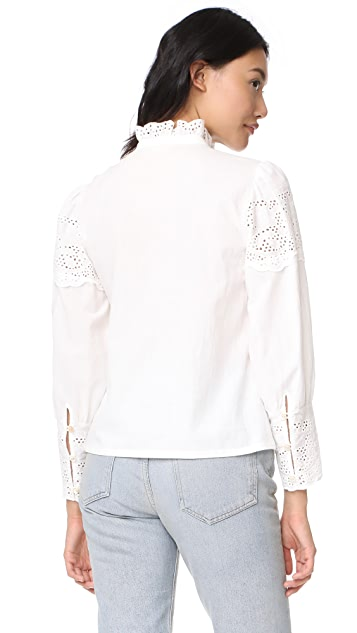 Rebecca Taylor Long Sleeve Tara Eyelet Top