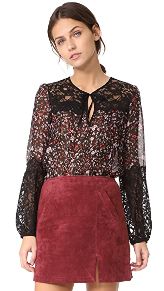 Rebecca Taylor Long Sleeve Lyra Lace Top In Black Combo