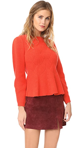 Rebecca Taylor Textured Rib Pullover Sweater In Watermelon