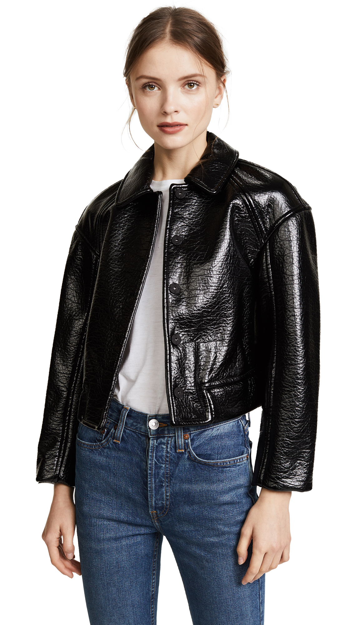 Rebecca Taylor Textured Vegan Leather Jacket - Black