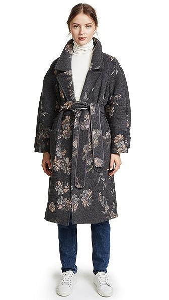Rebecca Taylor Jacquard Coat In Grey Combo