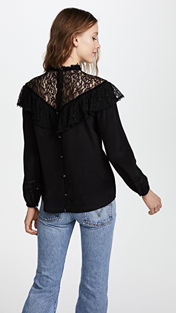 Rebecca Taylor Long Sleeve Silk Lace Top