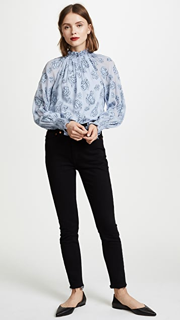 Rebecca Taylor Long Sleeve Rose Metallic Top