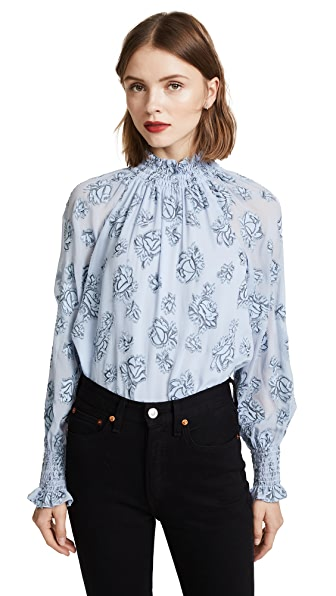 Rebecca Taylor Long Sleeve Rose Metallic Top In Silverbird