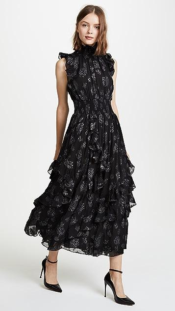 Rebecca Taylor Sleeveless Rose Metallic Dress