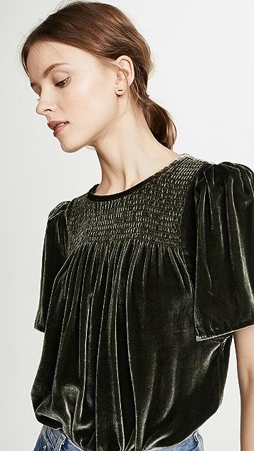 Rebecca Taylor Short Sleeve Velvet Top
