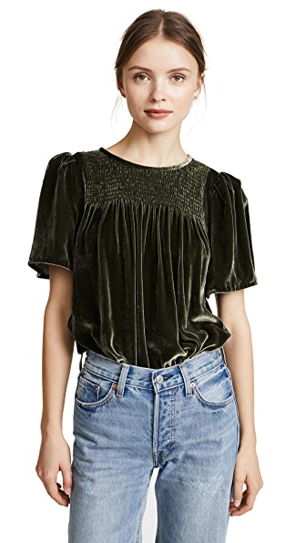 Rebecca Taylor Short Sleeve Velvet Top In Army