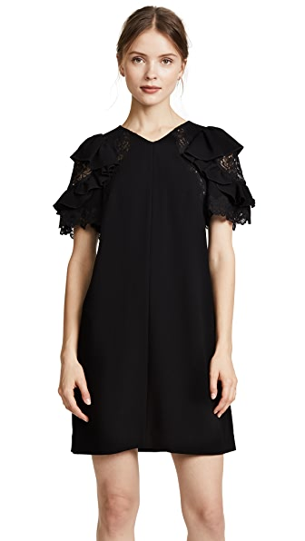 Rebecca Taylor Short Sleeve Crepe Lace Dress at Shopbop