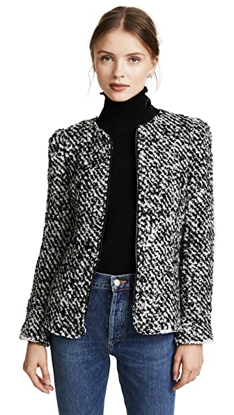 Rebecca Taylor Fluffy Tweed Jacket In Black/Snow