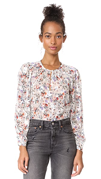 Rebecca Taylor Long Sleeve Ruby Floral Top In Cream Combo