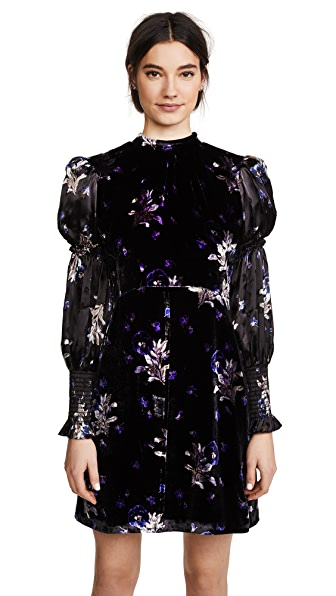 Rebecca Taylor Violet Velvet Dress In Black Combo