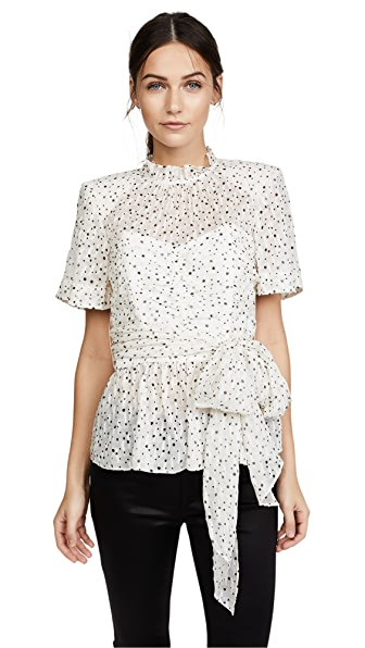 Rebecca Taylor Short Sleeve Star Tie Top In Snow Combo