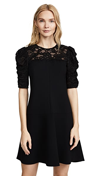 Rebecca Taylor Crepe Lace Dress In Black