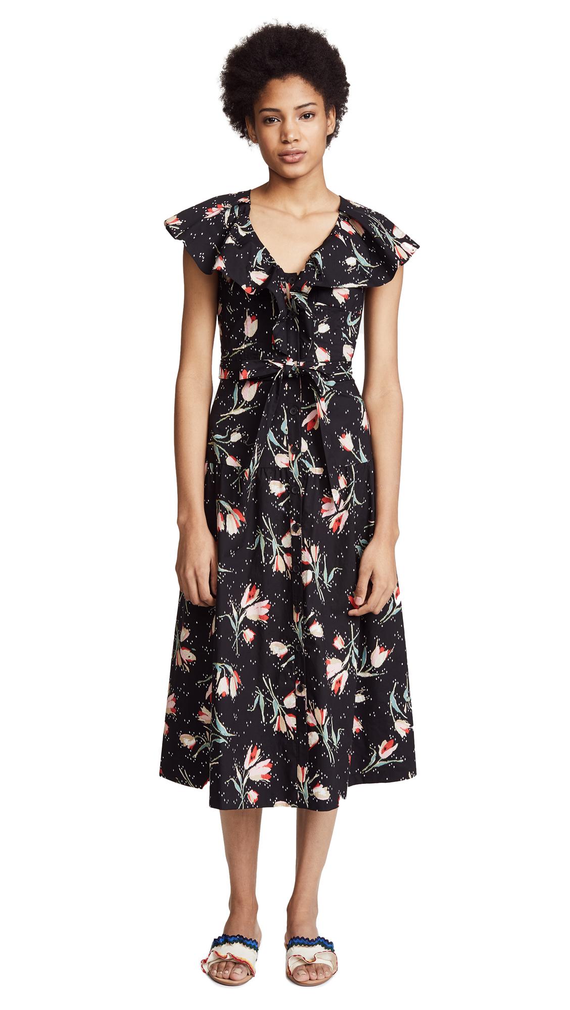 Rebecca Taylor Sleeveless Ikat Midi Dress
