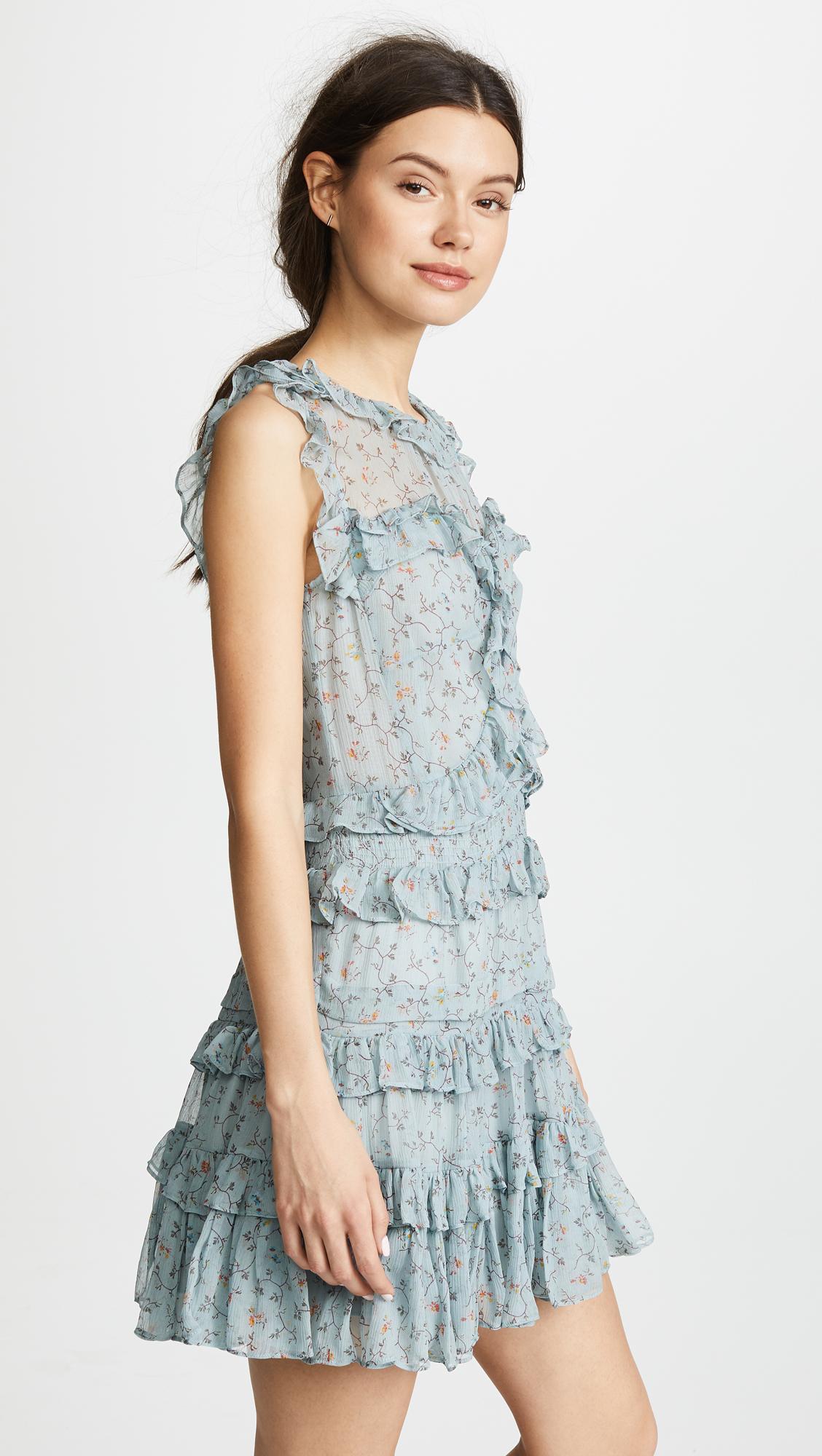 689af39f82a48 Rebecca Taylor Sleeveless Vine Ruffle Dress