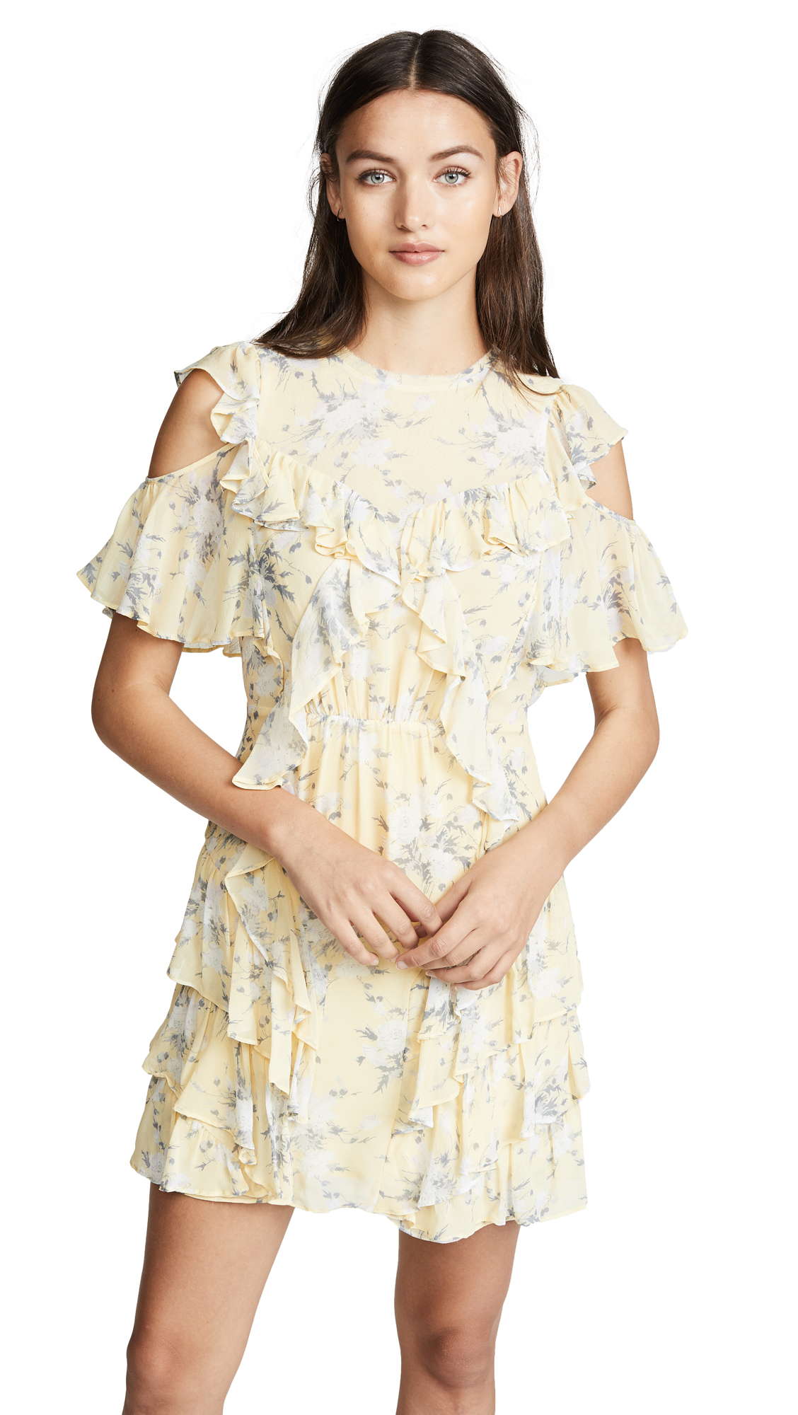 Rebecca Taylor Open Shoulder Lemon Dress