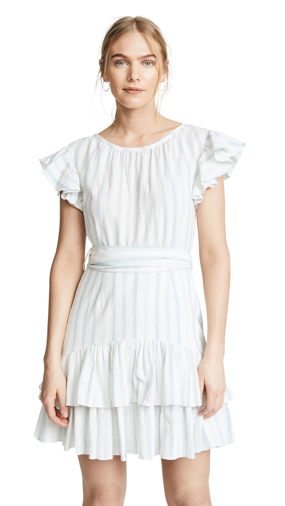 Rebecca Taylor Stripe Ruffle Dress In Snow Combo