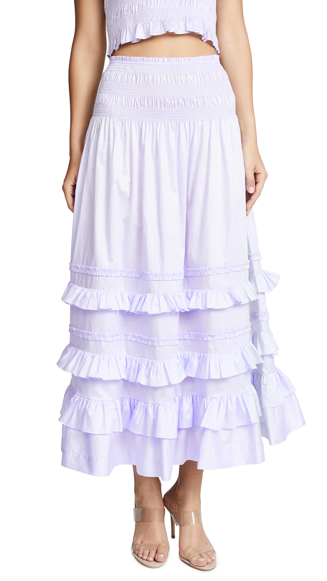 Rebecca Taylor Ruffled Smock Skirt In Sky