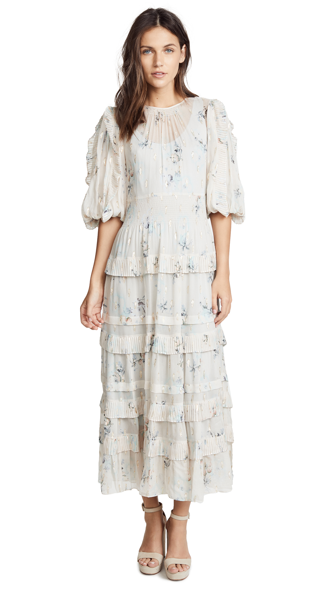 Rebecca Taylor Long Sleeve Faded Floral Dress