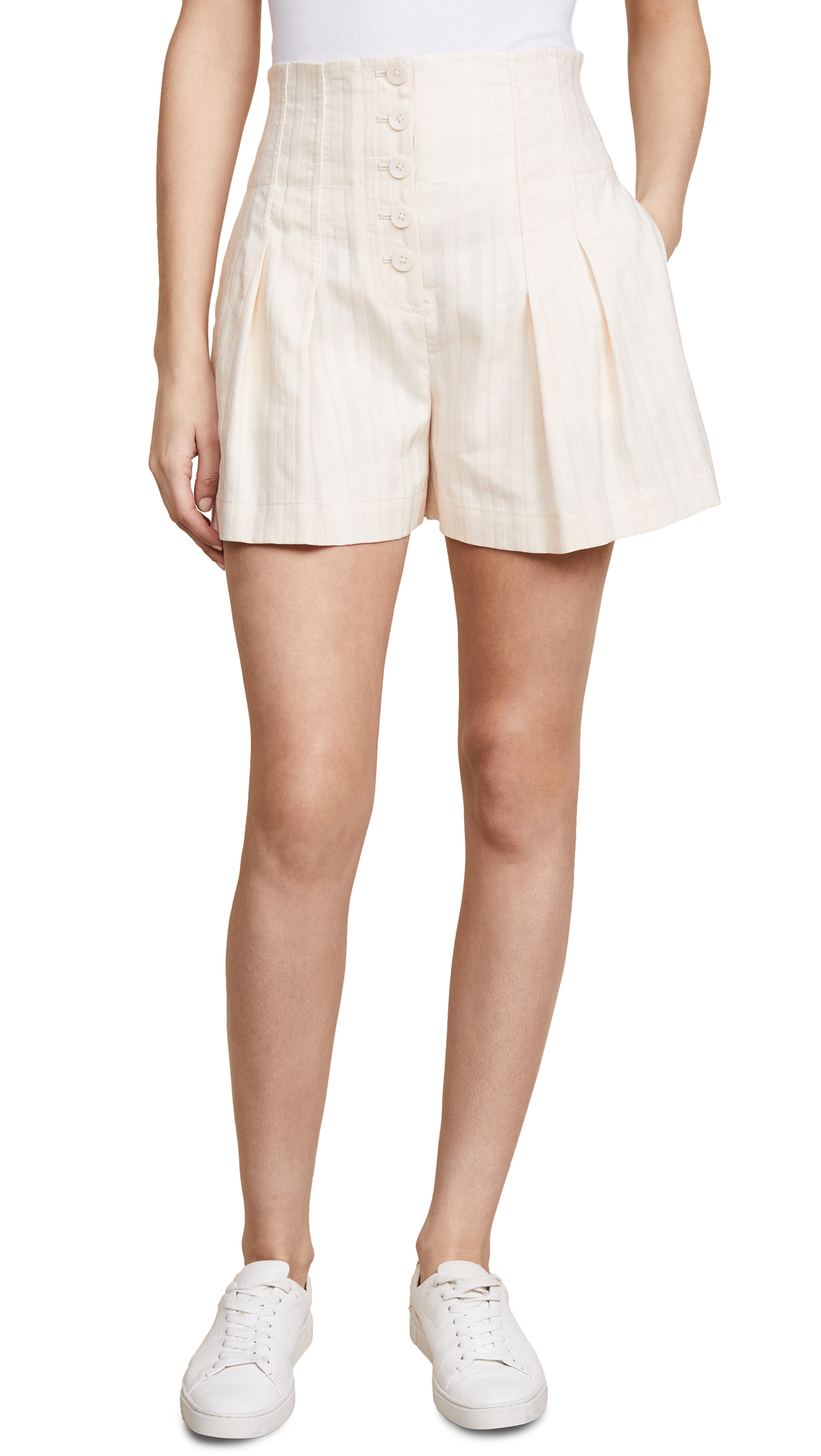 Rebecca Taylor Textured Stripe Shorts In Creme Brulee