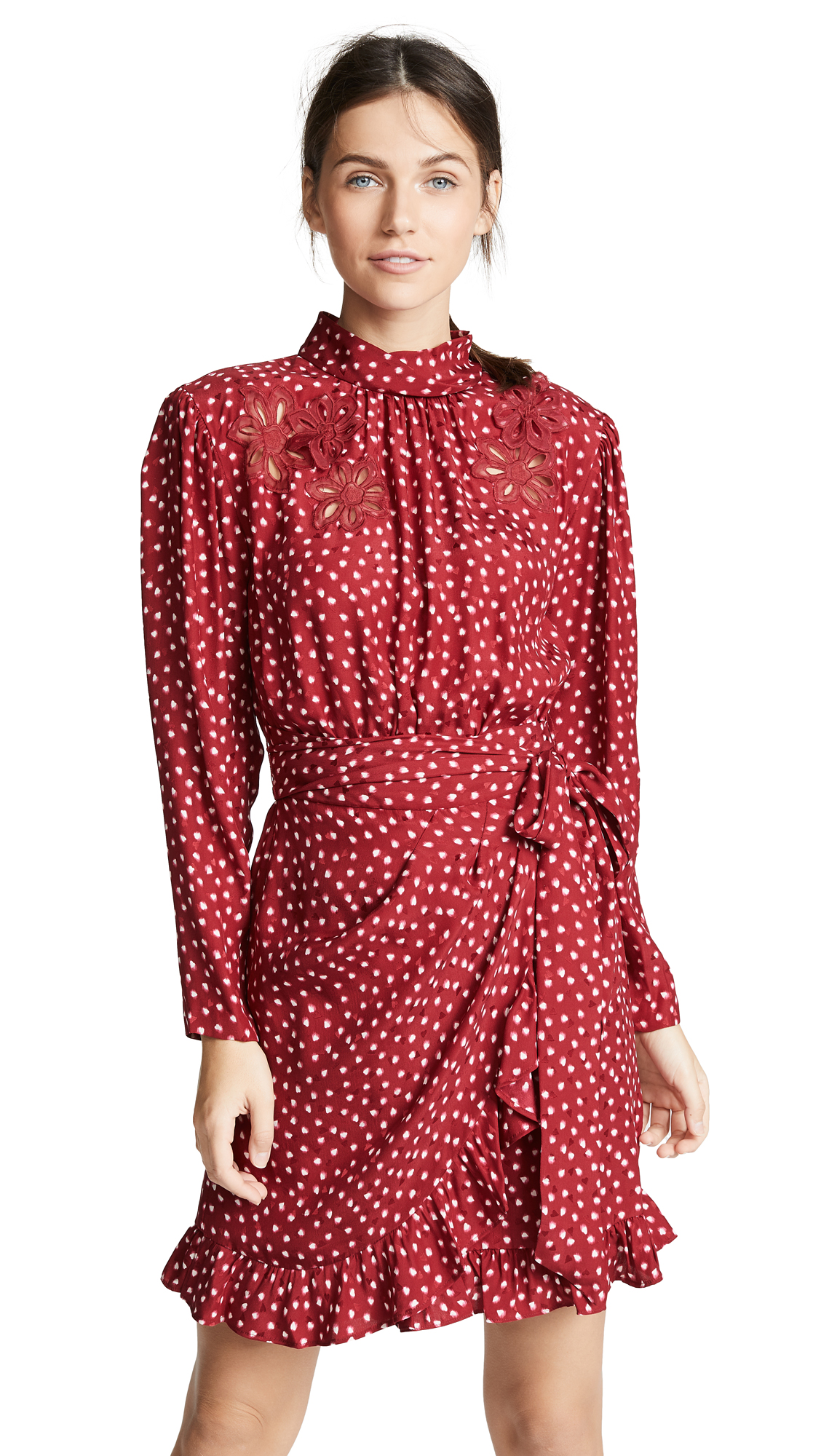 Rebecca Taylor 3D Heart Dress In Crimson