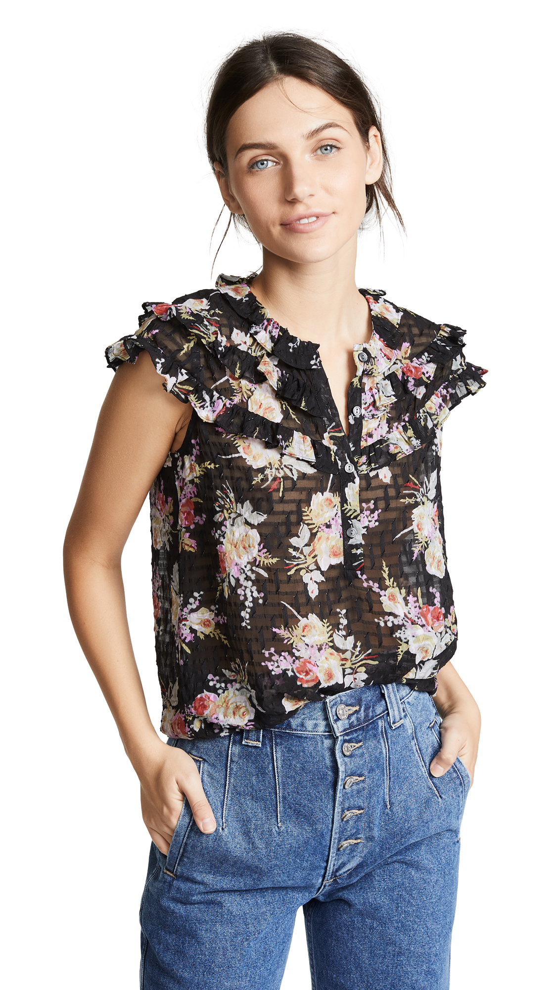 Rebecca Taylor Bouquet Top In Black Combo