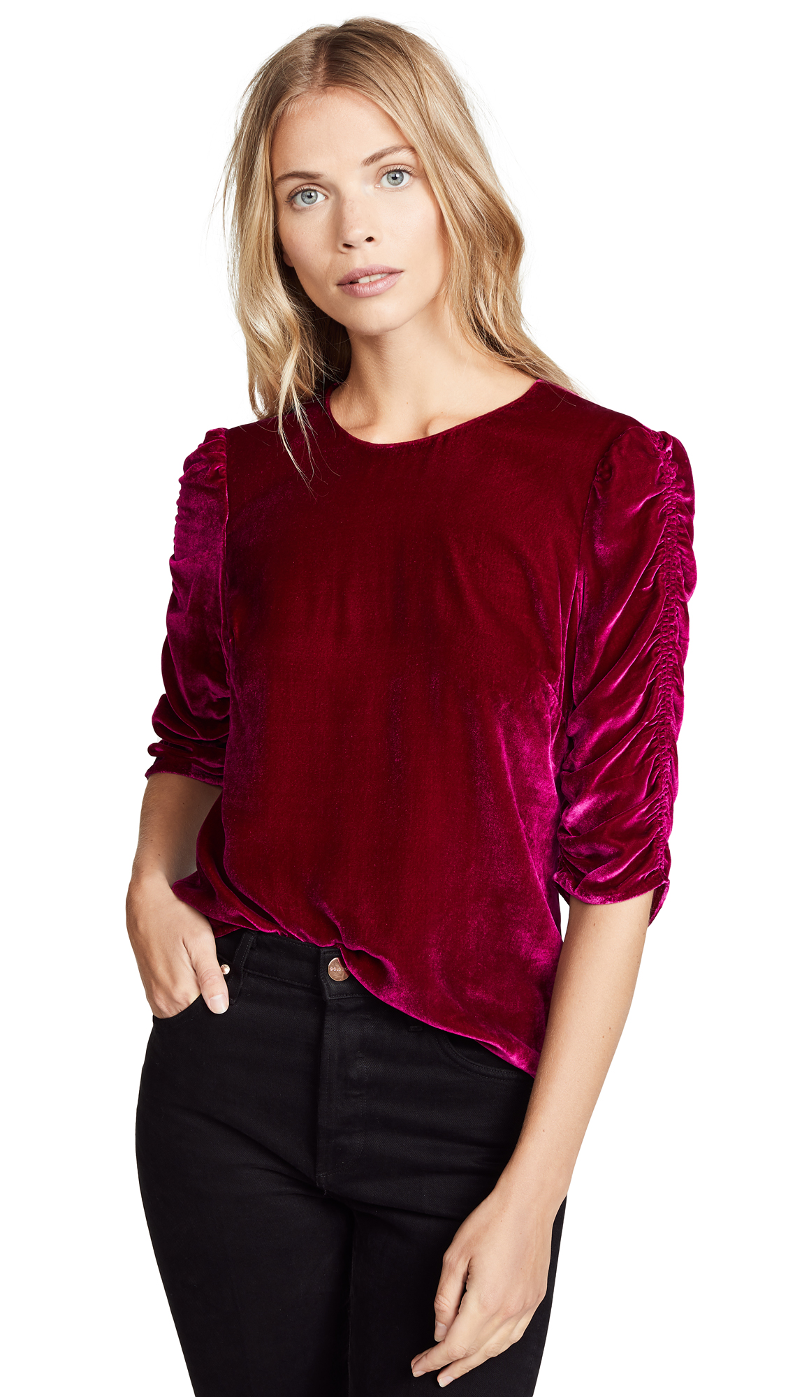 Rebecca Taylor Velvet Ruched Top In Cranberry