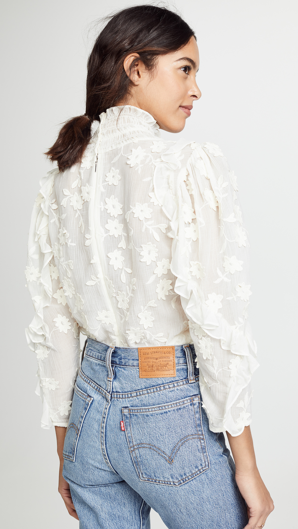 764bff26 Rebecca Taylor Long Sleeve Silk Embroidered Top   SHOPBOP