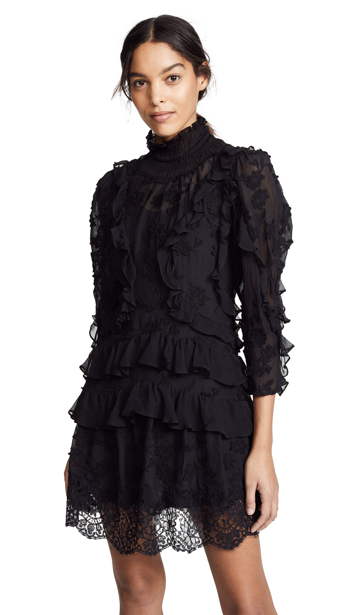 Rebecca Taylor Long Sleeve Silk Embroidered Dress - Black
