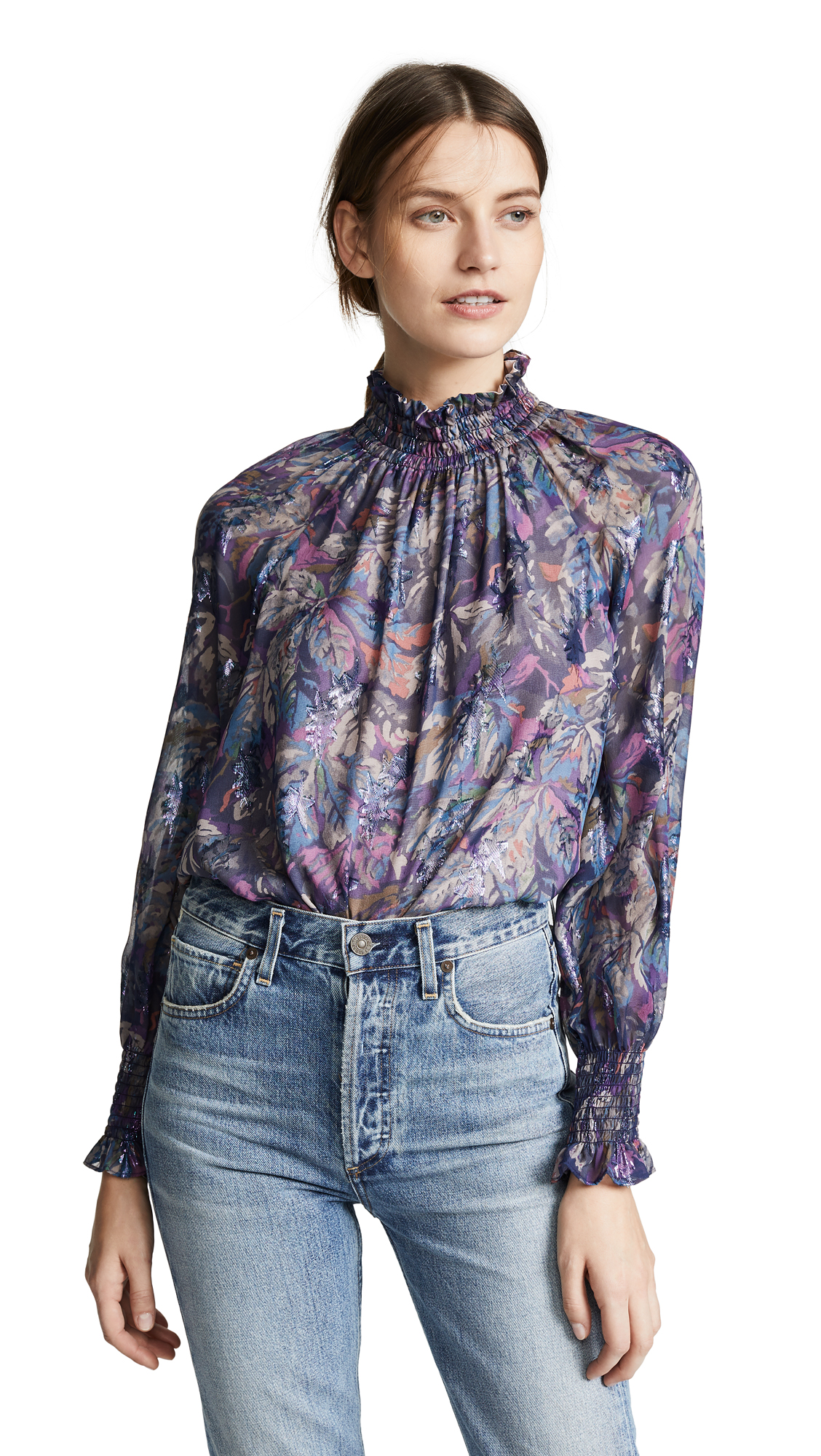 Givery Fleur Metallic Silk Top in Purple