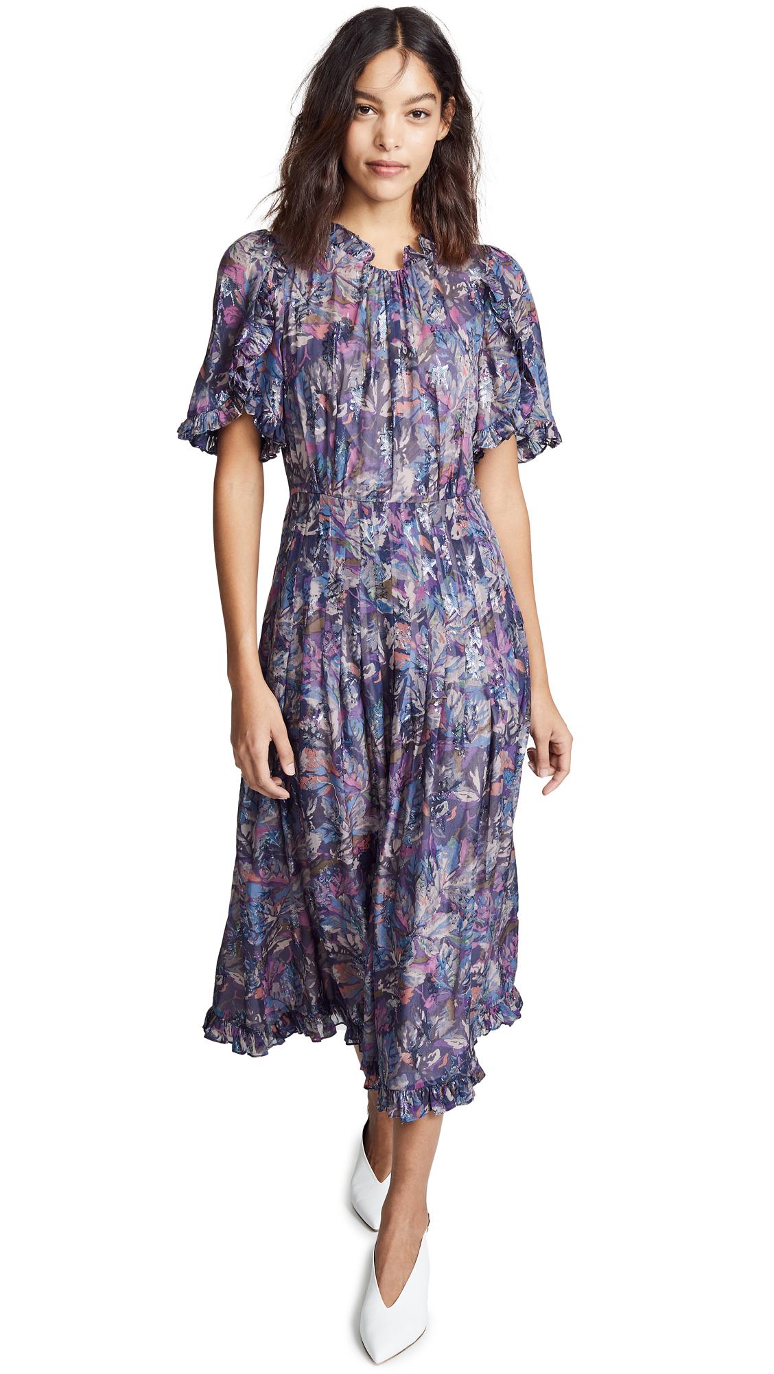 Giverny Metallic Detail Silk Chiffon Dress in Amethyst Combo