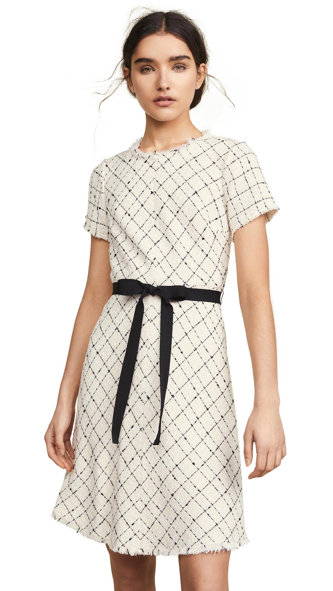 Rebecca Taylor Short Sleeve Plaid Tweed Dress - Cream Combo