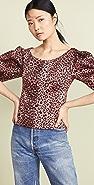 Rebecca Taylor Short Sleeve Leopard Top